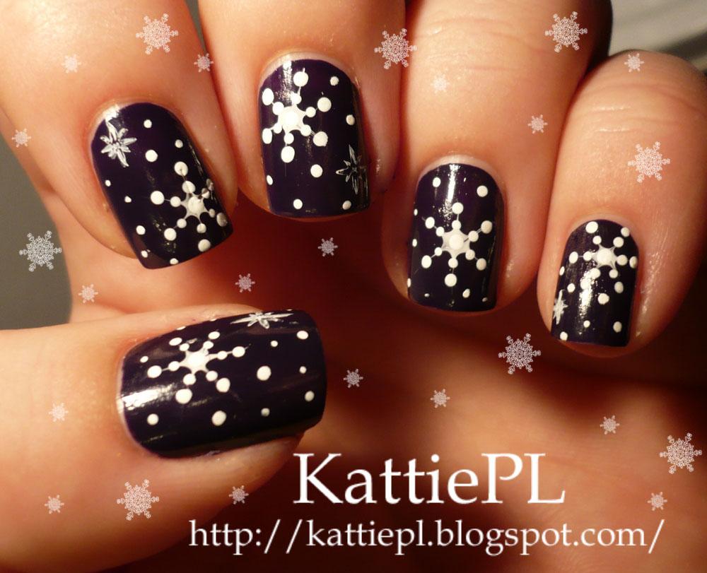 Nails By Kattiepl łatwe śnieżynki Step By Step