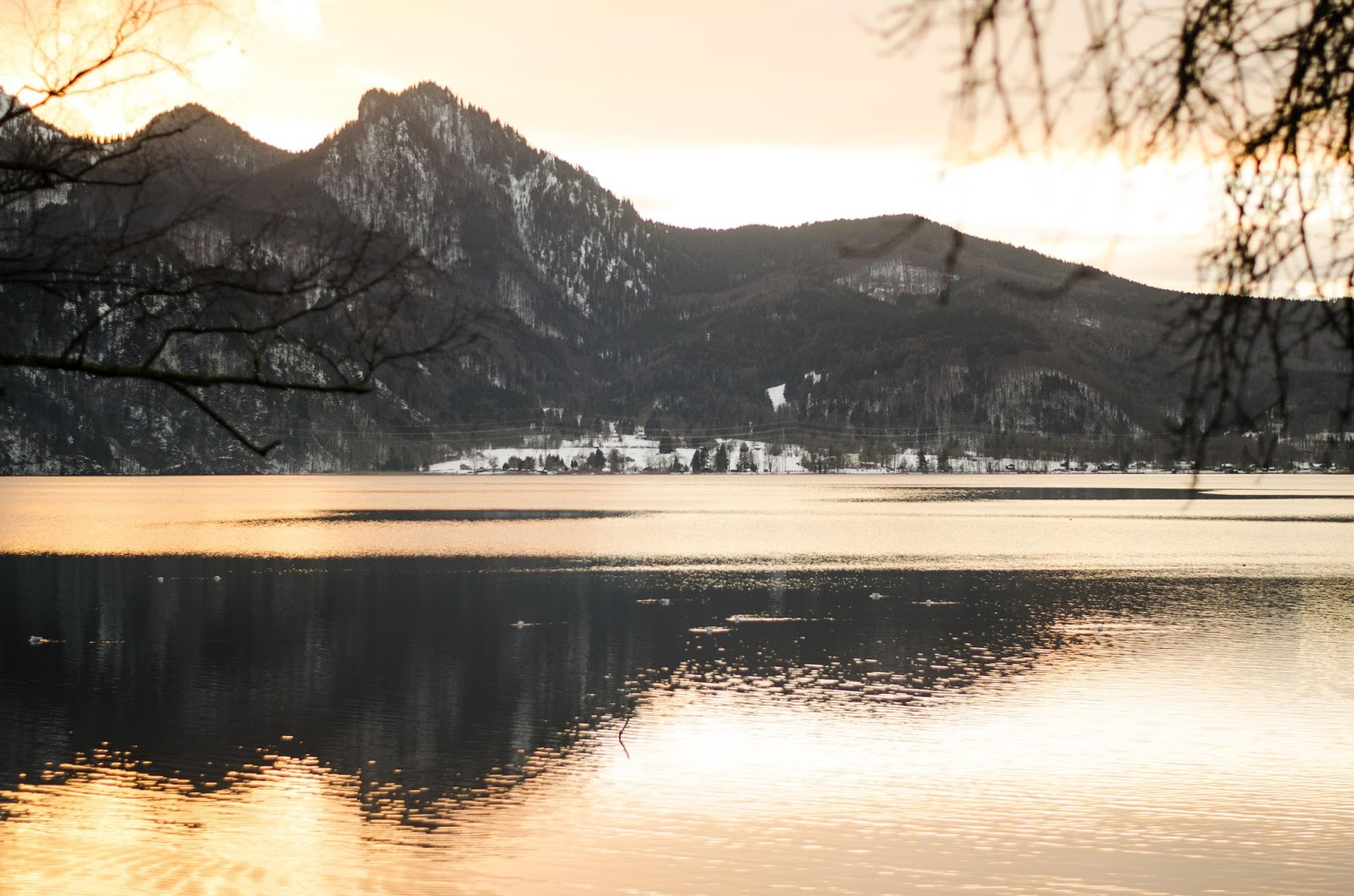 german austrian alps mountain lake sunset