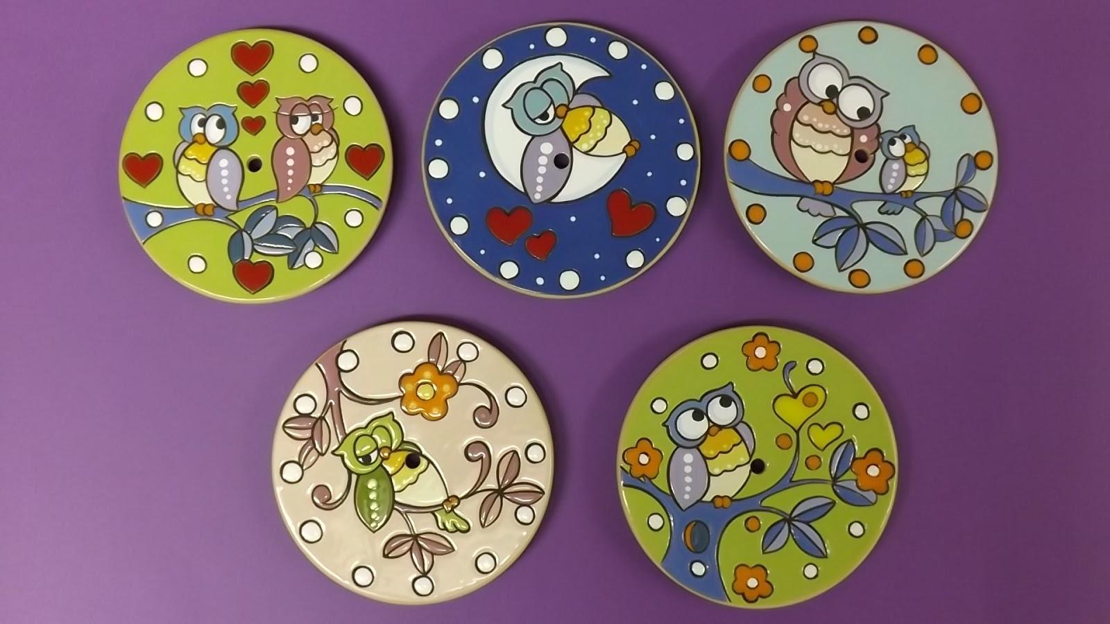 Ceramica come mestiere basi per orologi con gufi in cuerda seca