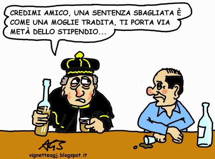 Magistrati, responsabilità civile, Berlusconi, divorzio, vignetta . satira