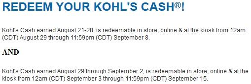 Redeem Kohls cash 09/03-09/15/2013