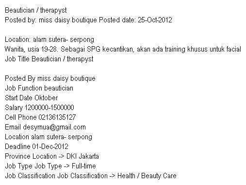 Lowongan Pekerjaan Beautician / therapyst - Miss Daisy Boutique