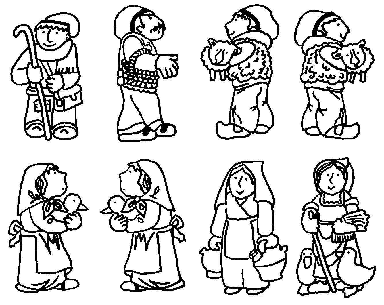 BAÚL DE NAVIDAD: Pesebre infantil para colorear y recortar