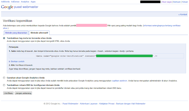 Cara Mendaftarkan Blog ke Google Webmaster Tools - Meta Tag Verifikasi