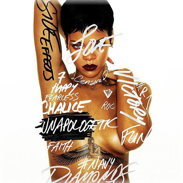 Rihanna en topless de portada de álbum Unapologetic