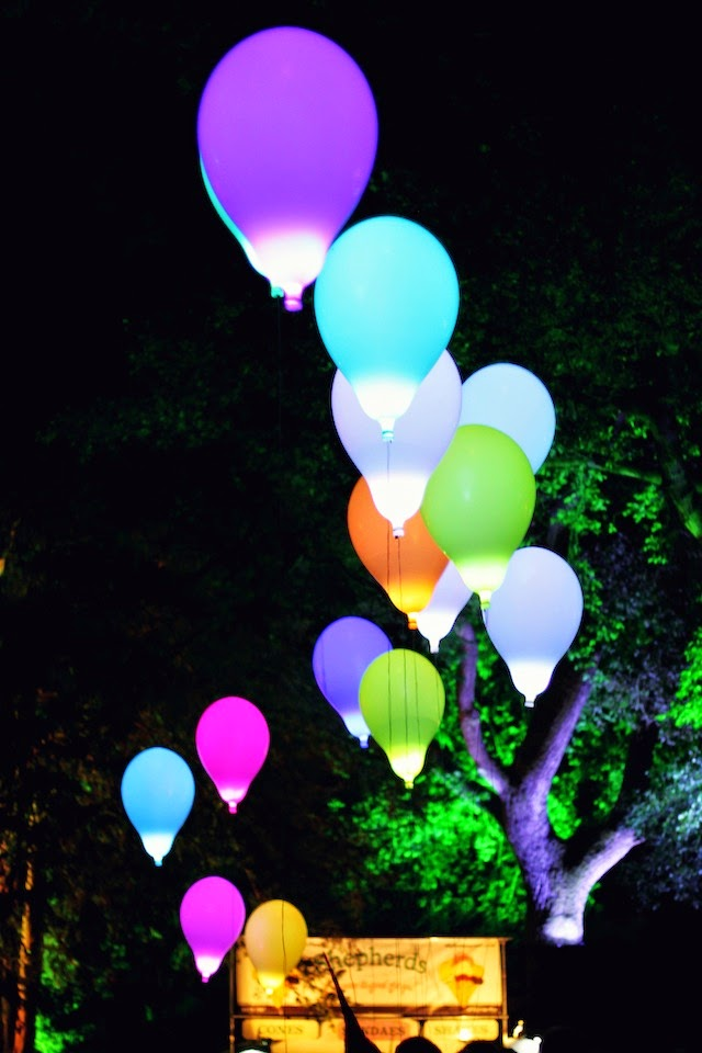 led, light up, balloons, festival, Larmer Tree