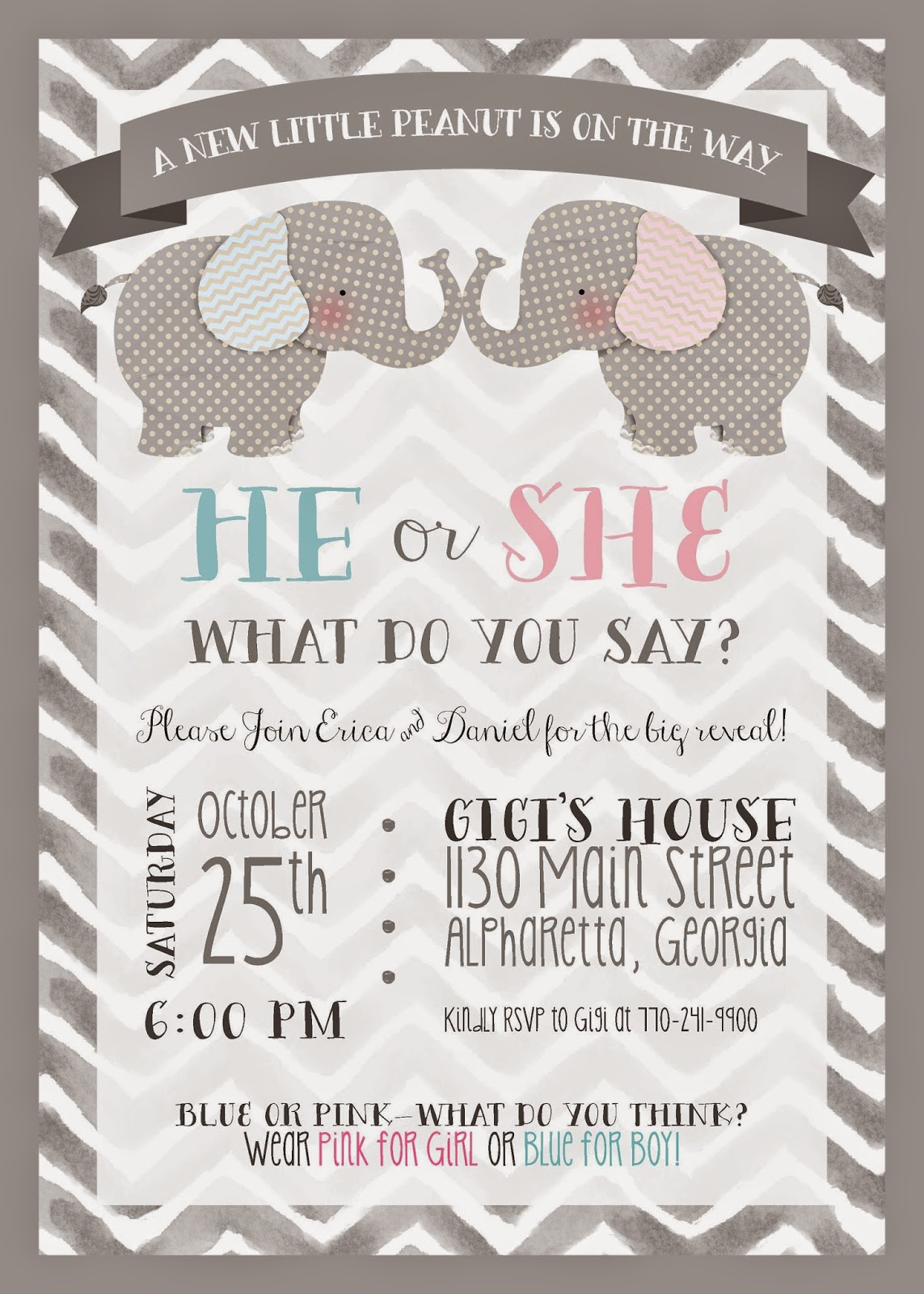 Sweet Leigh Mama Atlanta Mommy Blog Creative Gender Reveal – Gender Reveal Party Invite