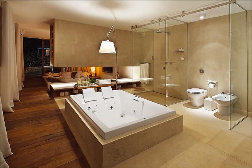 studio ML2 Quartos e banheiros integrados -> Banheiro Pequeno De Vidro Dentro Do Quarto