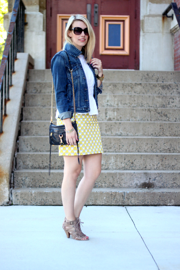 milly for banana republic, printed pencil skirt, banana republic pencil skirt, white peplum, canadian fashion blogger, fidelity denim jacket