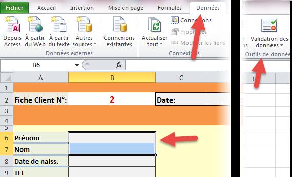 bouton validation de données