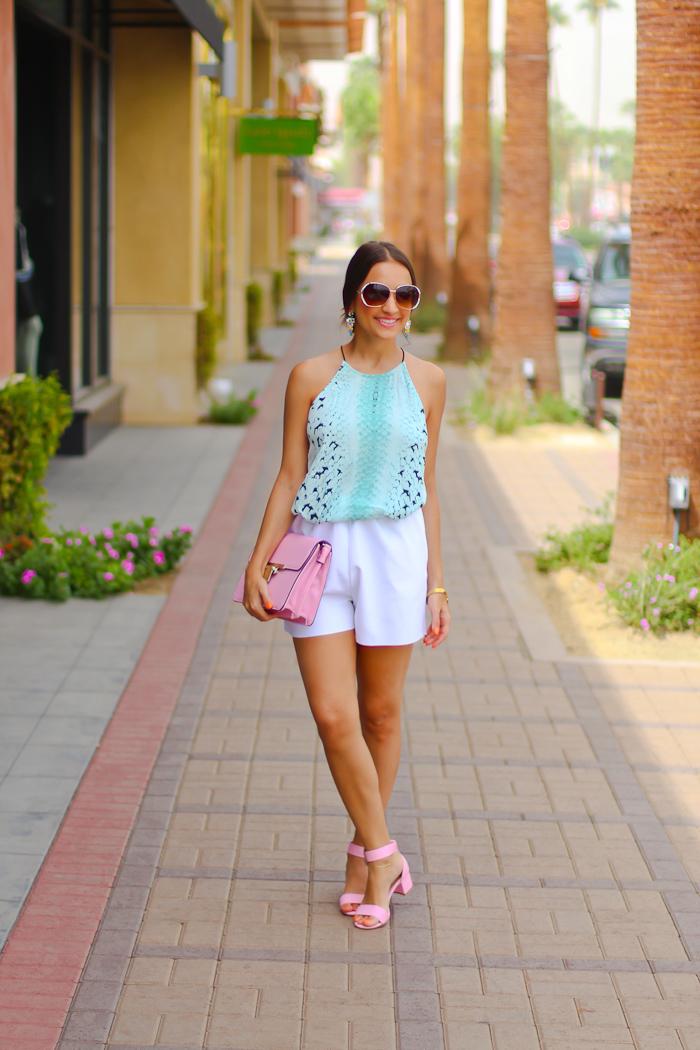bardot top, white scuba asos shorts, asos pink sandals, asos bag pink