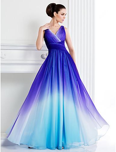Vestido Azul Gradiente con Escote en V