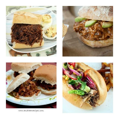 Slow Cooker Pulled Pork Sandwiches from Food Bloggers found on SlowCookerFromScratch.com