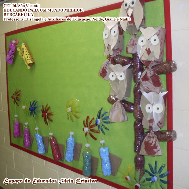 Painel Corujinhas de Caixa de Leite Espaço do Educador
