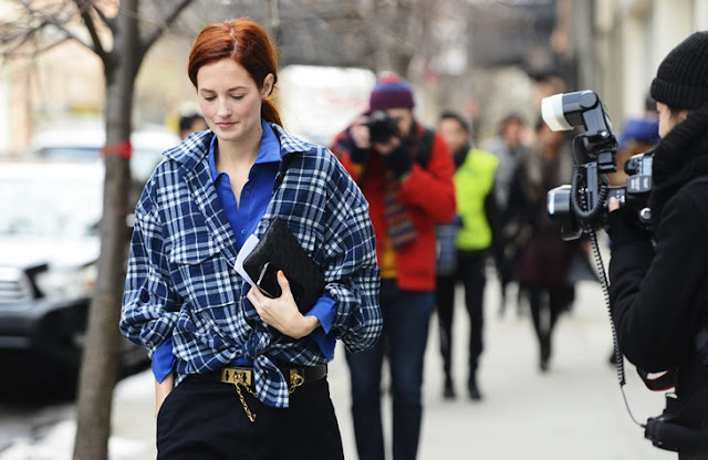 Taylor Tomasi-Hill by Tommy Ton NYFW, Plaid, Layering, Menswear, Street style