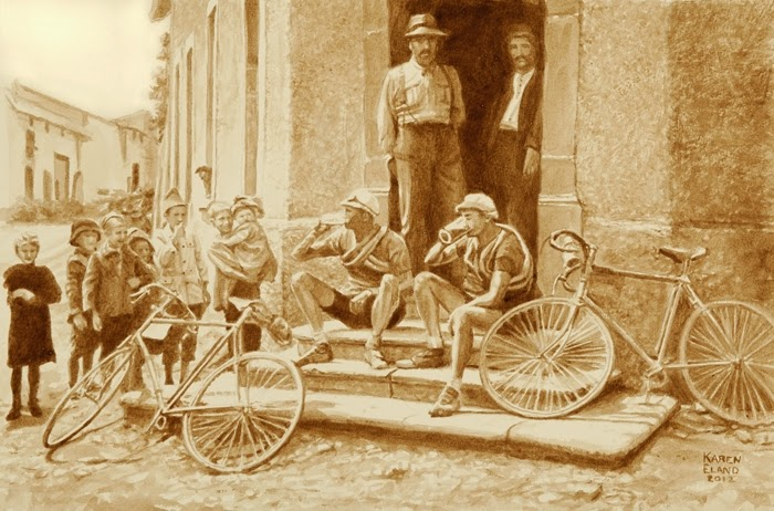 09-1920s-Tour-De-France-Karen Eland-Vintage-Looking-Beer-and-Water-Paintings-www-designstack-co