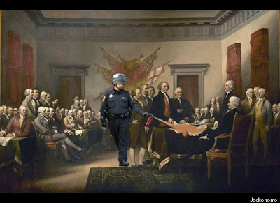 Pike pepper-spraying the Declaration of Independence