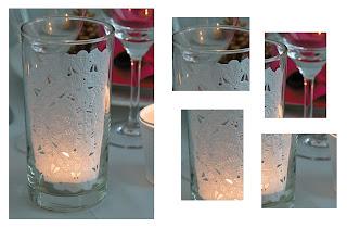 Decoração para mesa de natal - copo com guardanapo de papel rendado