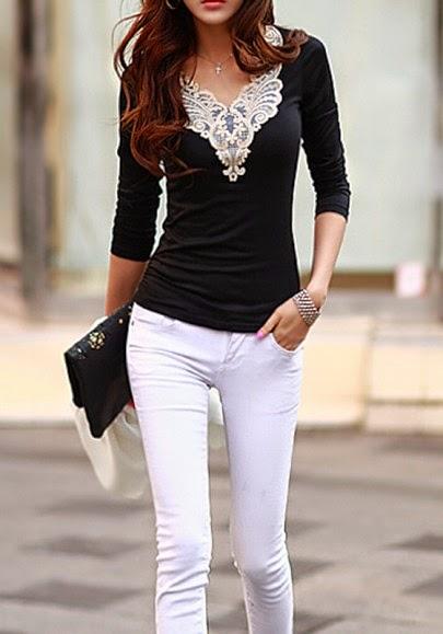 Black Patchwork Lace Slim T-Shirt