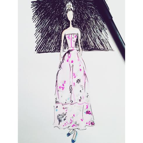 Alexa Chung fashion illustration Erdem