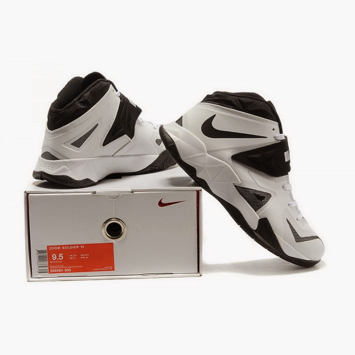 Nike Lebron 7 VII Soldier 2013 White Black Running Shoes For Sale
