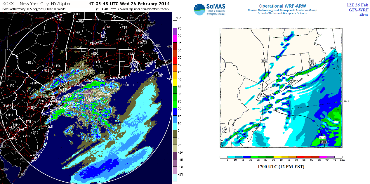 observed left and modeled right base radar reflectivity at 1700z 12 pm est