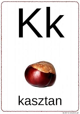 literki dla przedszkolaków - kasztan