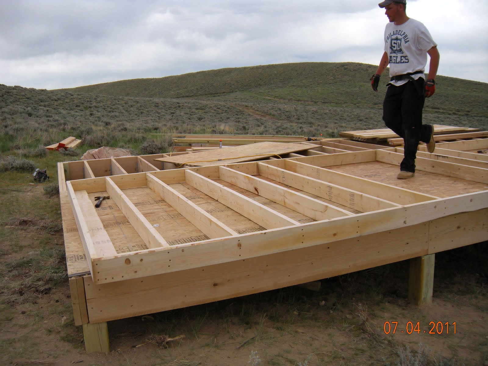 Modern homesteading and green living building a small off for How to build a cabin floor