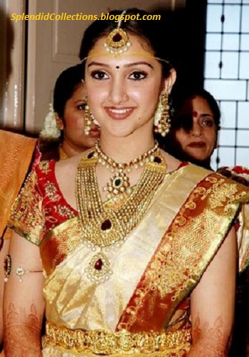 South Indian actress Sridevi wearing Kundan Jewelry on her wedding