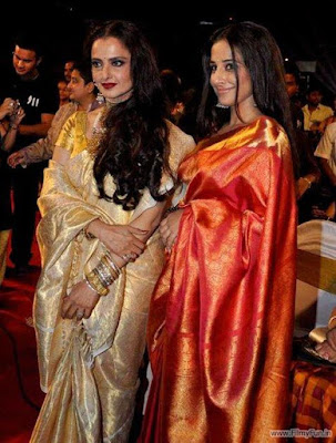 Rekha and Vidya Balan show off their golden embroidered saris