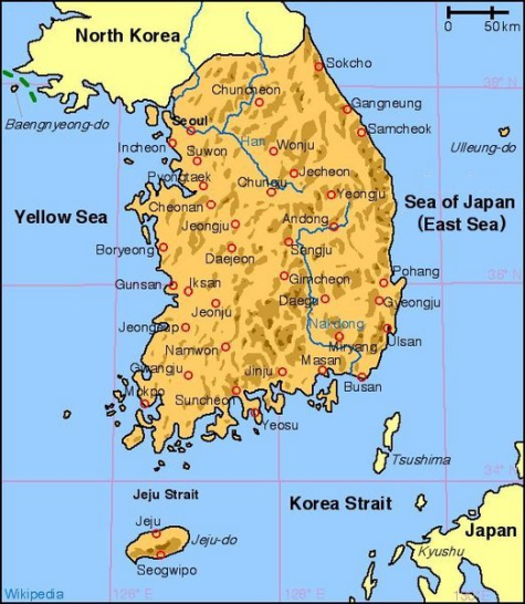 south and north korea map. Republic of Korea are usually