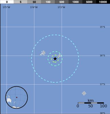 Epicentro sismo 5,9 grados en Tonga, el 27 de Enero 2013