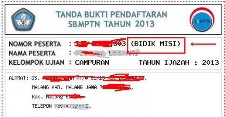 contoh+bidik+misi+sbmptn Tata Cara Pendaftaran Bidik Misi SBMPTN 2013