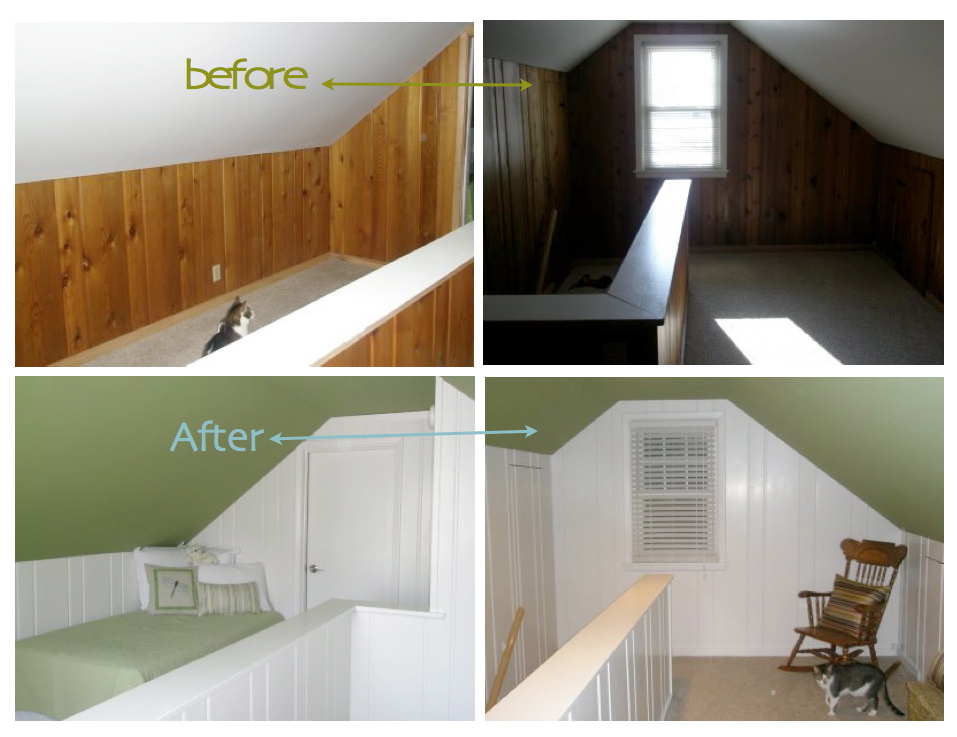 B B Painted Wood Paneling Before After