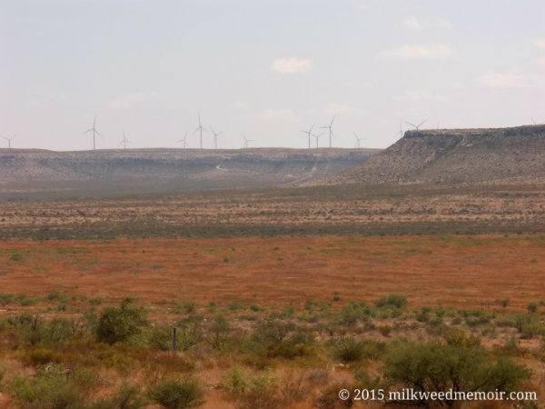 windmills on ridge near Fort Stockton, Texas
