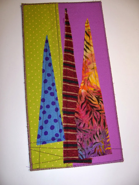 trees on green and lavender - a marty mason original fabric art card