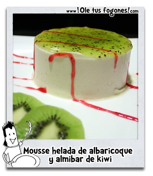 Mousse helada de albaricoque y almibar de kiwi
