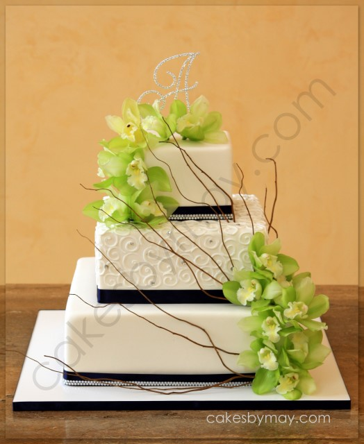 Cakes by Maylene: Some Sparkle and Swirls Wedding Cake