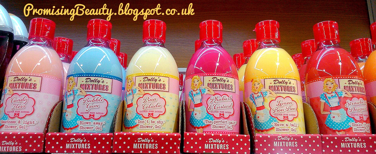 Dollys mixtures shower gel, bubble bath, rhubarb and custard, lemon bon bon, strawberry daiquiri etc