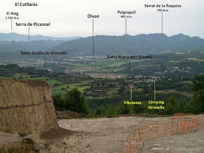 Els Bassacs, Gironella i Olvan des de la pedrera de Terra Negra