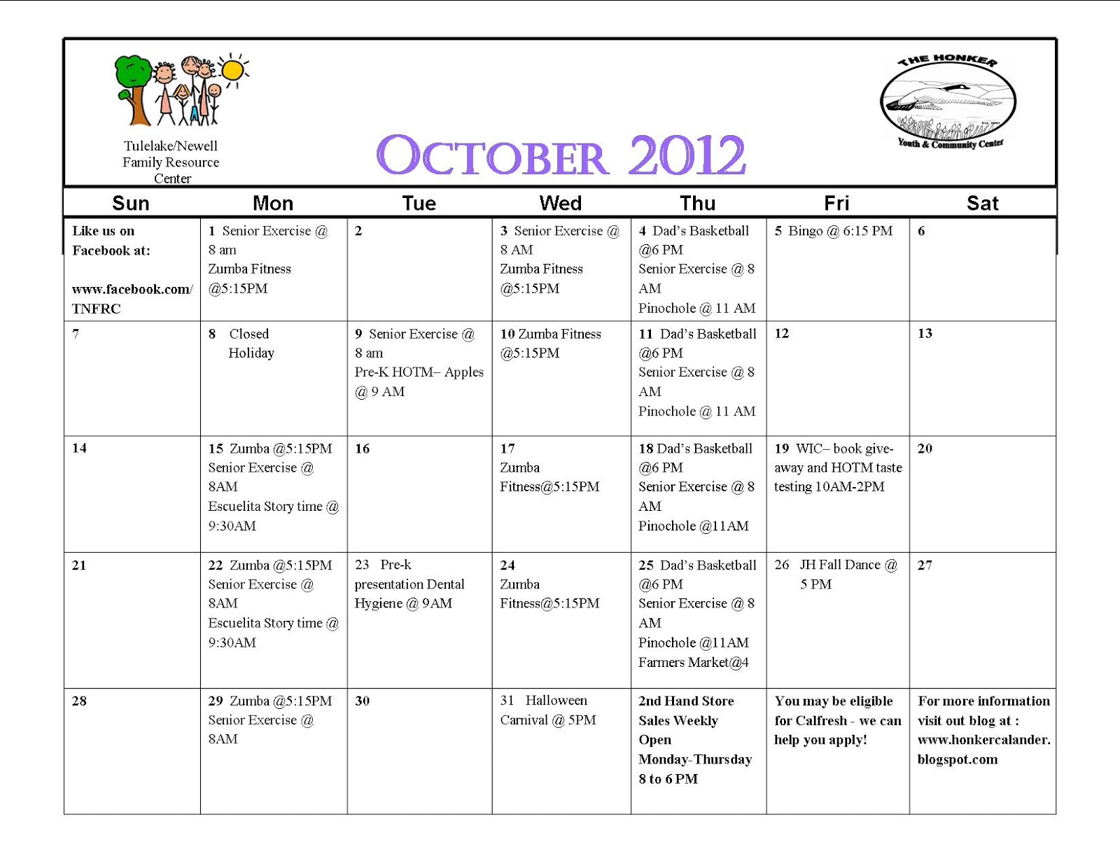 Honker Monthly Activities October 2012 Calendar