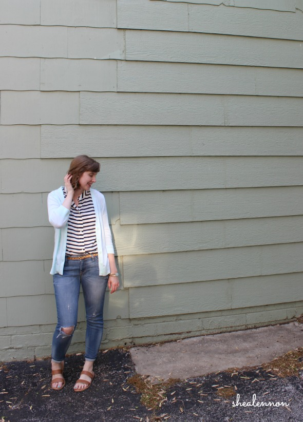 Distressed jeans, stripes, mint cardigan | www.shealennon.com