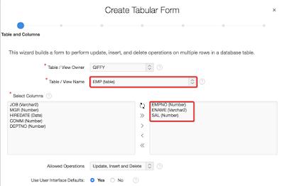 tabular form