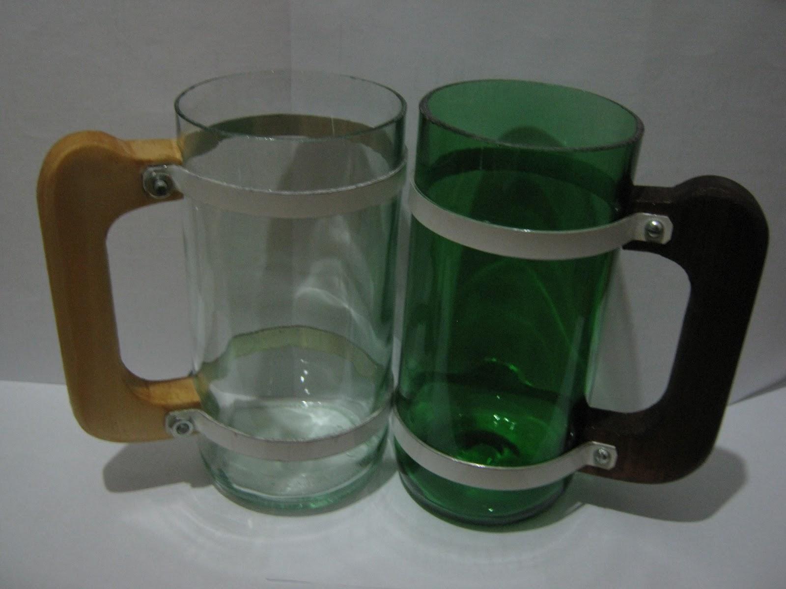 de botellas y artesanias: Jarros y vasos con botellas de vidrio