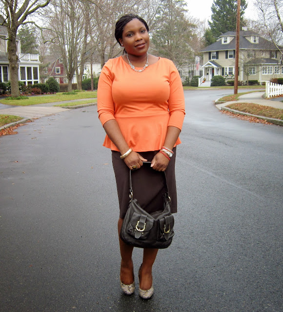Statement necklace, Brown cocktail ring, How to wear peplum