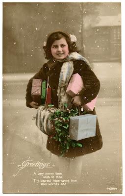 Старая фотография девушки Подарки Омела снег