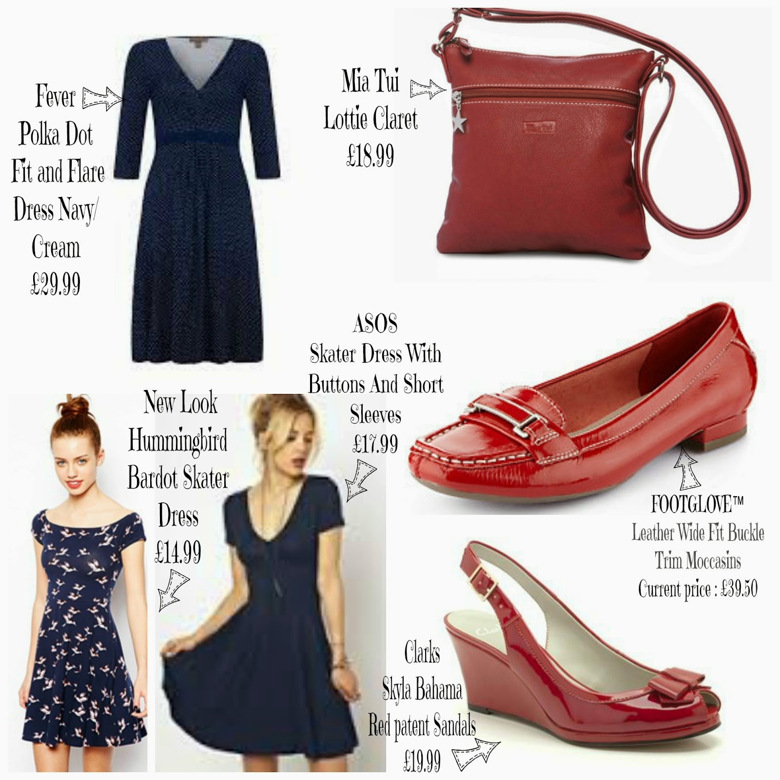 Fever, Brit Mums Style, Board, Polka Dot, Red, Dresses, Shoes, Handbags