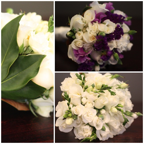 Brides Bouquet in white and Bridesmaids in purple and white