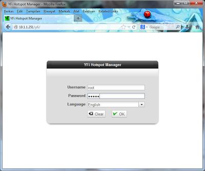 YFI hotspot manager login administrator