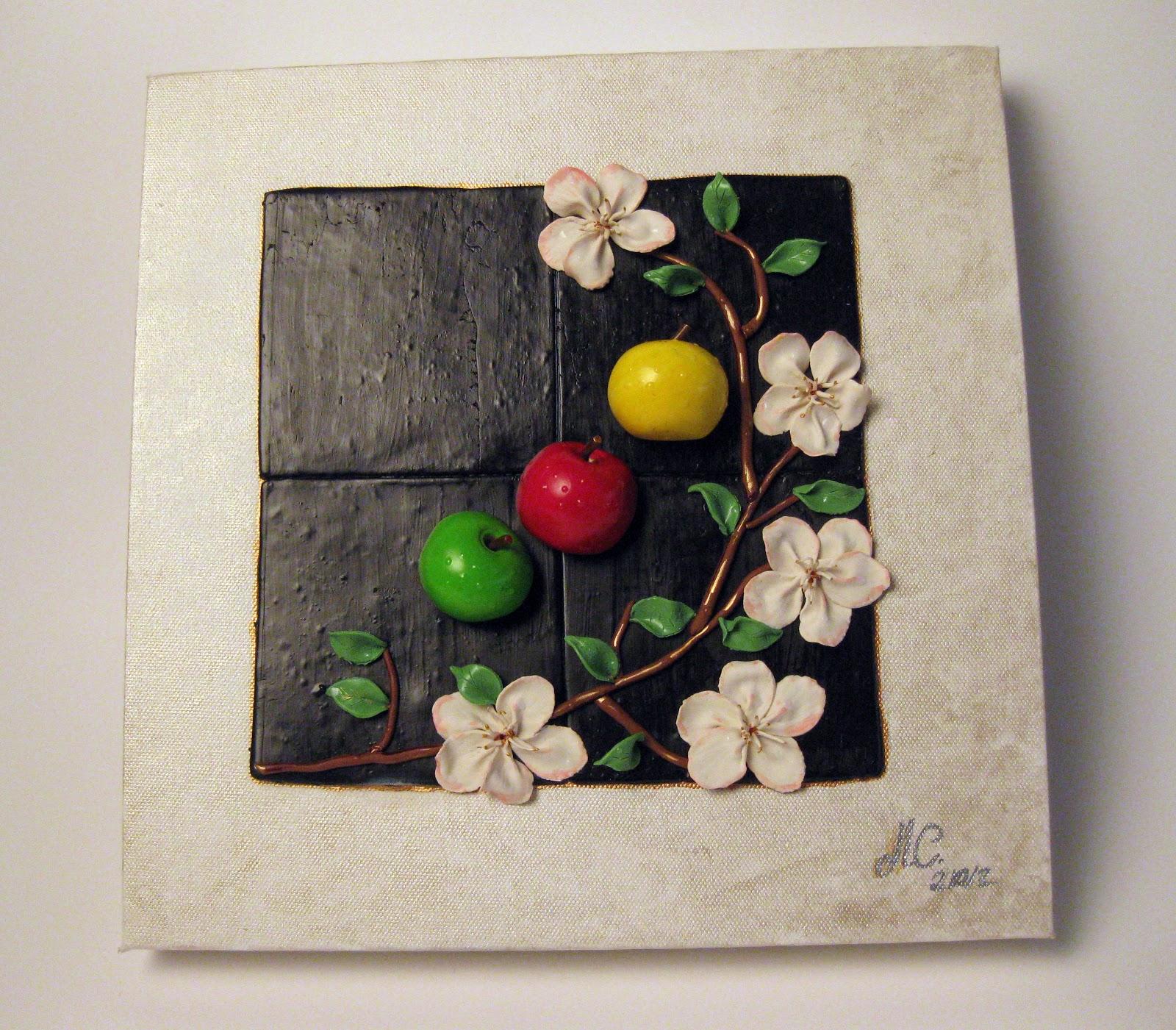 Clay & Fantasy Art: CUADRO COCINA (coleccion flores y frutas)
